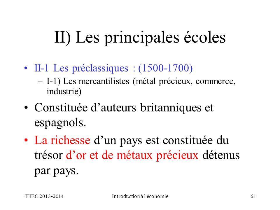 II) Les principales écoles II-1 Les préclassiques : (1500-1700) –I-1) Les mercantilistes (métal précieux, commerce, industrie) Constituée dauteurs bri