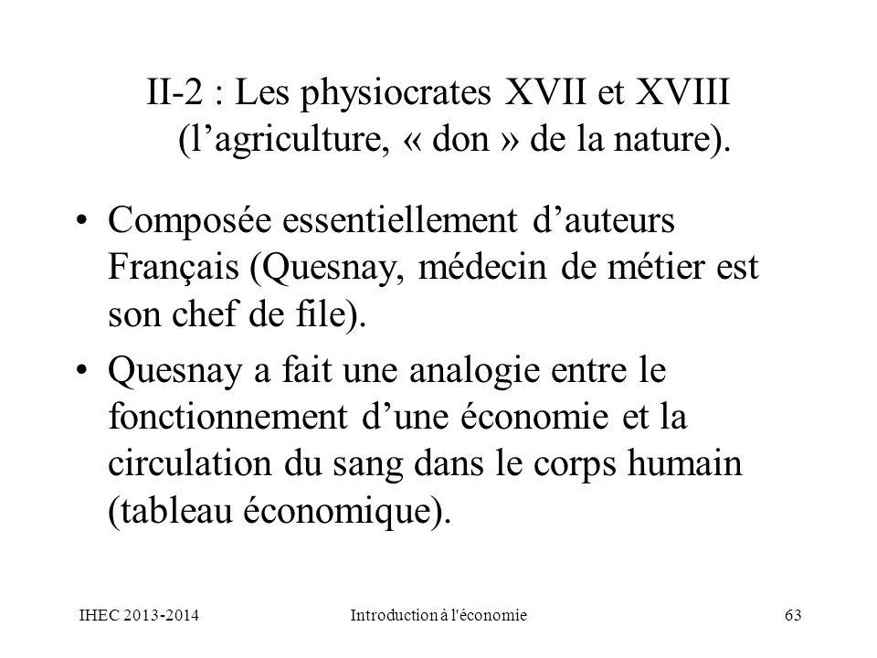 II-2 : Les physiocrates XVII et XVIII (lagriculture, « don » de la nature). Composée essentiellement dauteurs Français (Quesnay, médecin de métier est