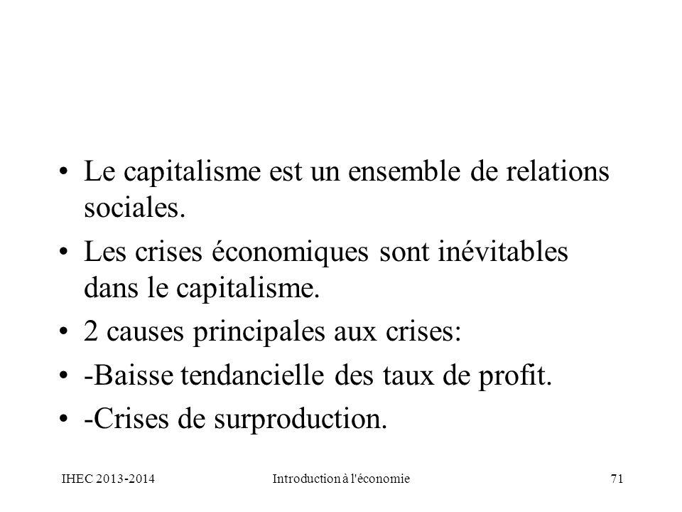 Le capitalisme est un ensemble de relations sociales. Les crises économiques sont inévitables dans le capitalisme. 2 causes principales aux crises: -B