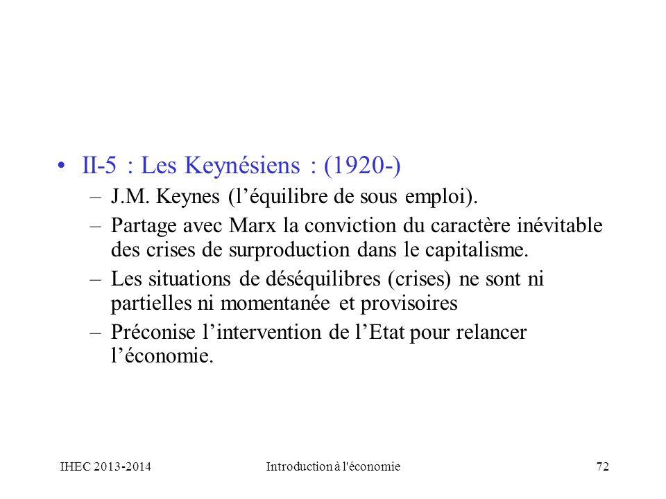 II-5 : Les Keynésiens : (1920-) –J.M. Keynes (léquilibre de sous emploi). –Partage avec Marx la conviction du caractère inévitable des crises de surpr