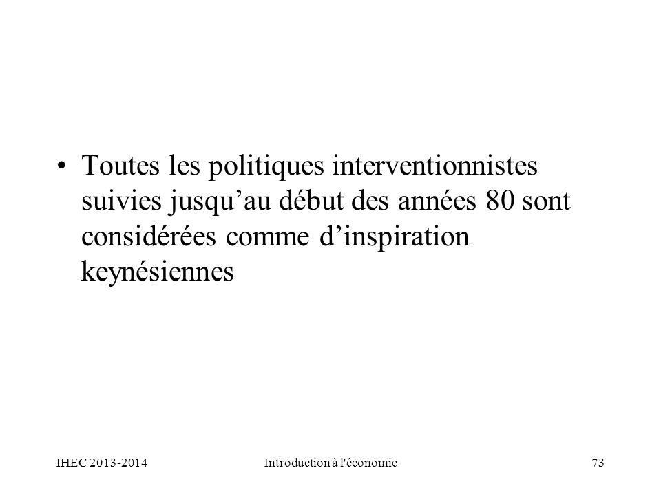 Toutes les politiques interventionnistes suivies jusquau début des années 80 sont considérées comme dinspiration keynésiennes IHEC 2013-2014Introducti