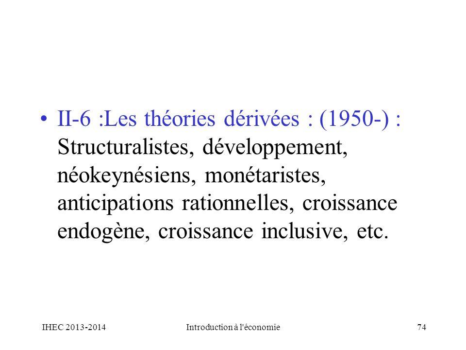 II-6 :Les théories dérivées : (1950-) : Structuralistes, développement, néokeynésiens, monétaristes, anticipations rationnelles, croissance endogène,