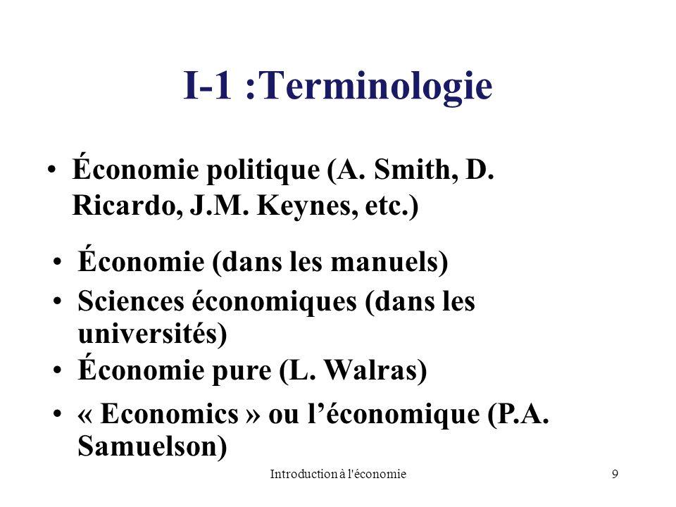 I-1 :Terminologie Économie politique (A. Smith, D. Ricardo, J.M. Keynes, etc.) Économie (dans les manuels) Sciences économiques (dans les universités)