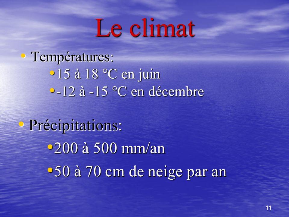 11 Le climat Températures: Températures: 15 à 18 °C en juin 15 à 18 °C en juin -12 à -15 °C en décembre -12 à -15 °C en décembre Précipitations: Préci