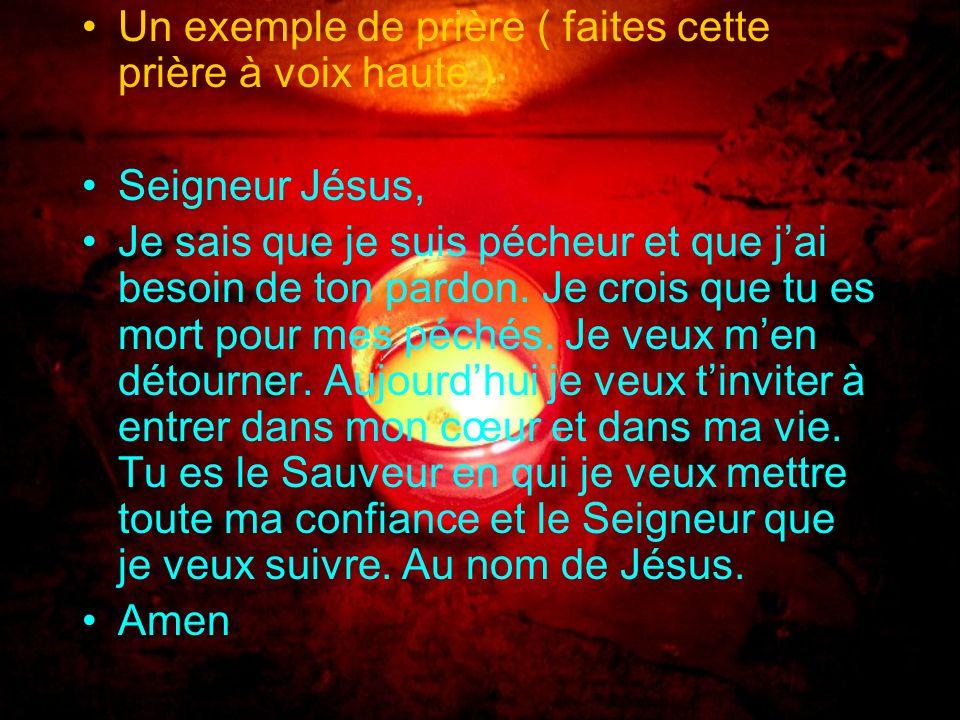 La bible dit : « si de ta bouche, tu affirmes devant tous que Jésus-Christ est le Seigneur et si tu crois de tout ton cœur que Dieu la ramené dentre l