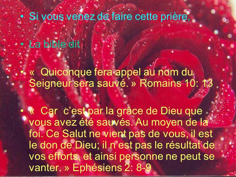 Un exemple de prière ( faites cette prière à voix haute ) Seigneur Jésus, Je sais que je suis pécheur et que jai besoin de ton pardon. Je crois que tu