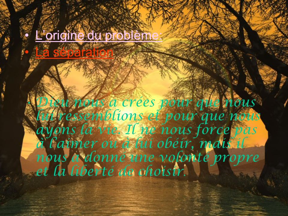 La Bible dit : « … nous sommes maintenant en paix avec lui ( Dieu ) par notre Seigneur Jésus-Christ … » Romain 5:1 « Car Dieu a tellement aimé le mond