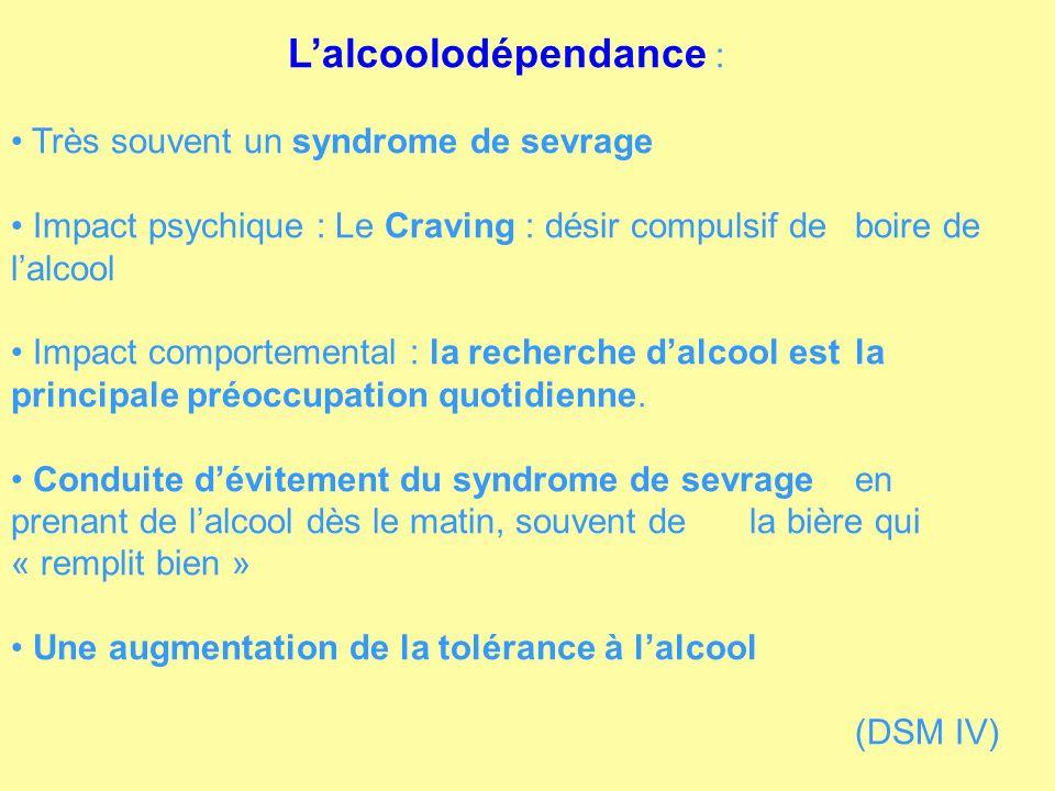 Lalcoolodépendance : Très souvent un syndrome de sevrage Impact psychique : Le Craving : désir compulsif de boire de lalcool Impact comportemental : l