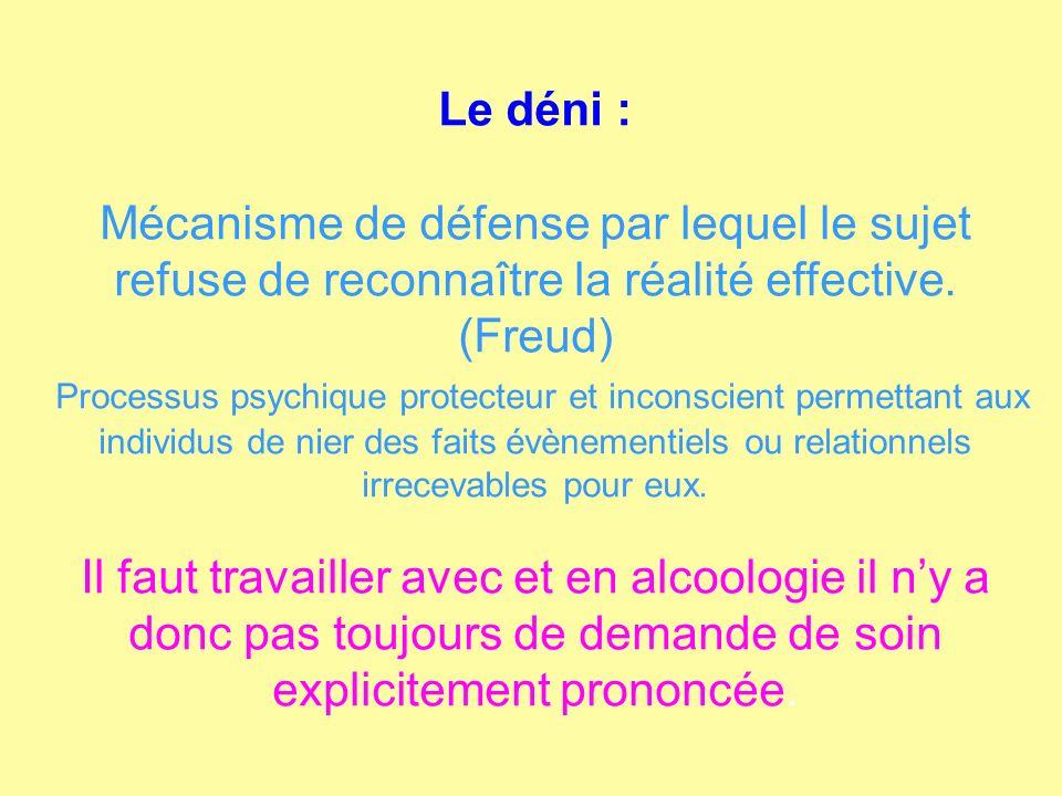 Le déni : Mécanisme de défense par lequel le sujet refuse de reconnaître la réalité effective. (Freud) Processus psychique protecteur et inconscient p