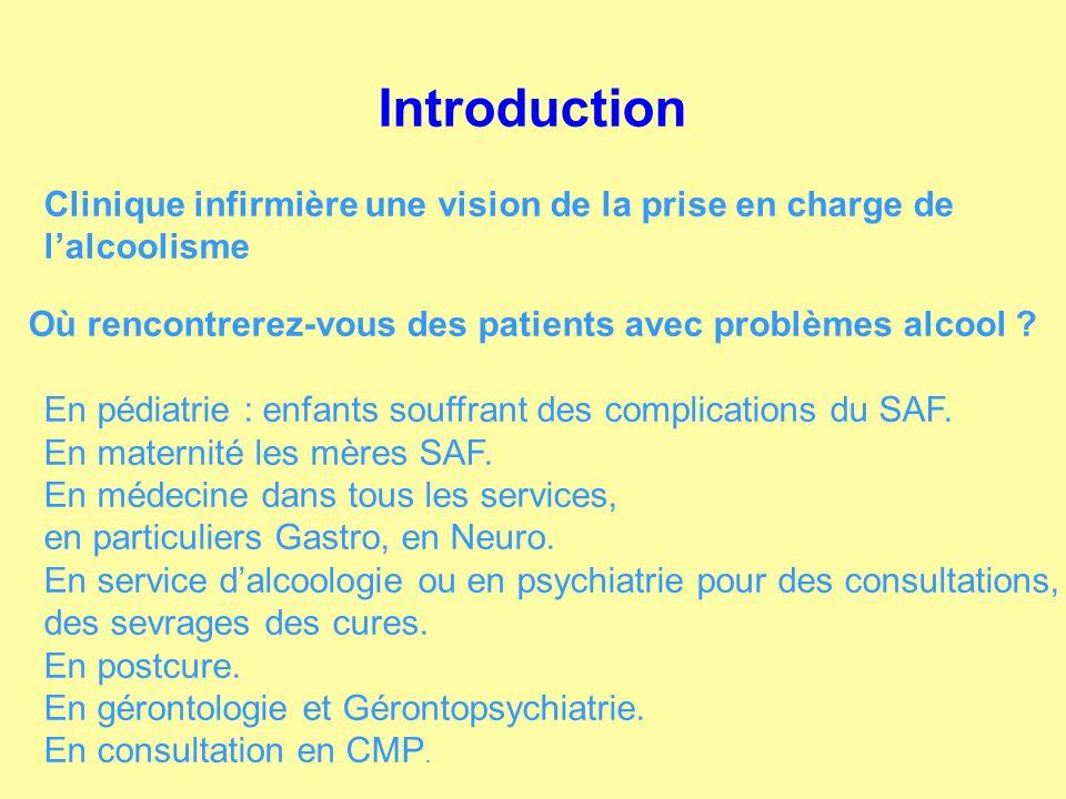 Introduction Clinique infirmière une vision de la prise en charge de lalcoolisme Où rencontrerez-vous des patients avec problèmes alcool ? En pédiatri