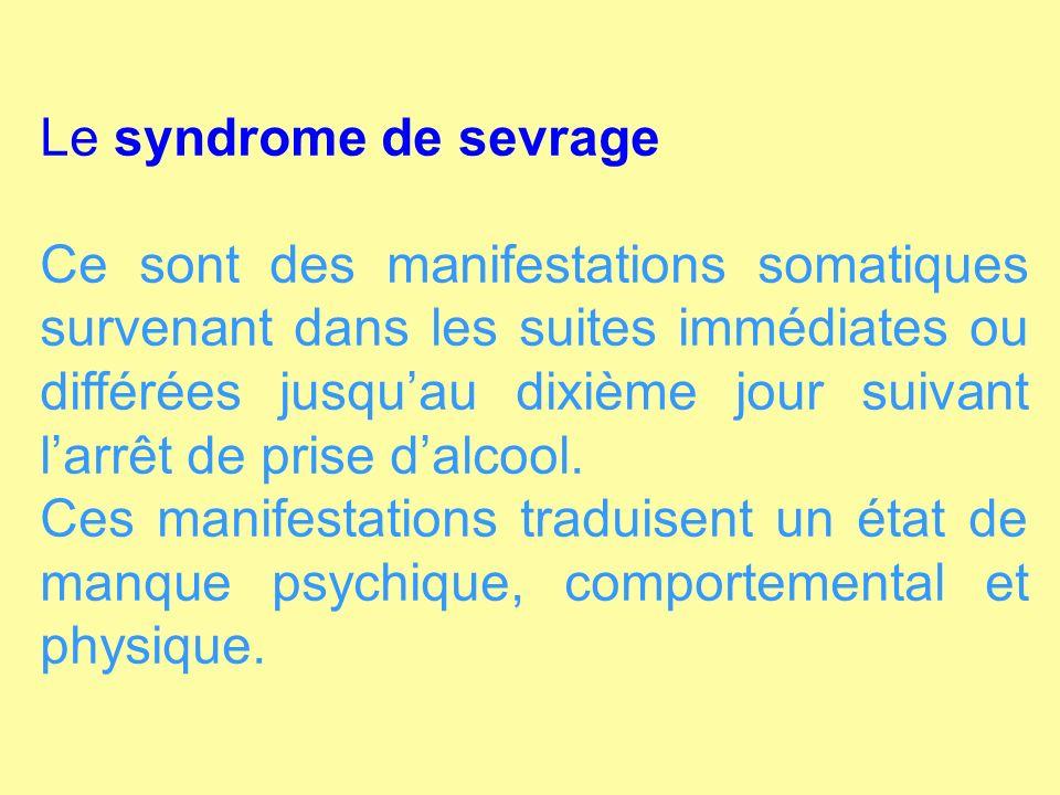 Le syndrome de sevrage Ce sont des manifestations somatiques survenant dans les suites immédiates ou différées jusquau dixième jour suivant larrêt de