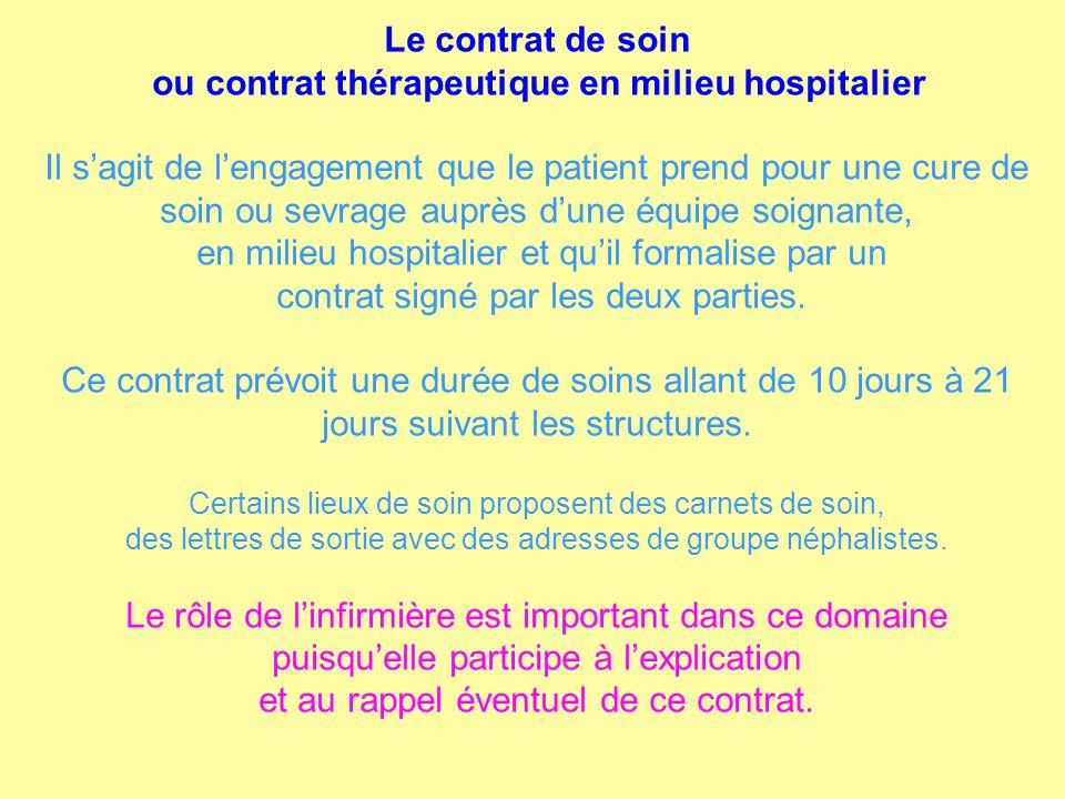Le contrat de soin ou contrat thérapeutique en milieu hospitalier Il sagit de lengagement que le patient prend pour une cure de soin ou sevrage auprès