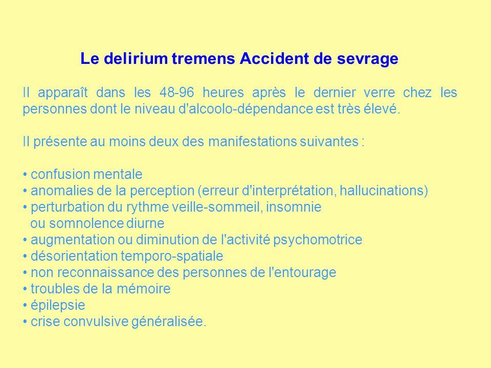 Le delirium tremens Accident de sevrage Il apparaît dans les 48-96 heures après le dernier verre chez les personnes dont le niveau d'alcoolo-dépendanc