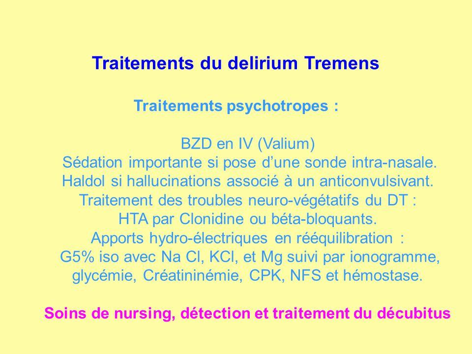Traitements du delirium Tremens Traitements psychotropes : BZD en IV (Valium) Sédation importante si pose dune sonde intra-nasale. Haldol si hallucina