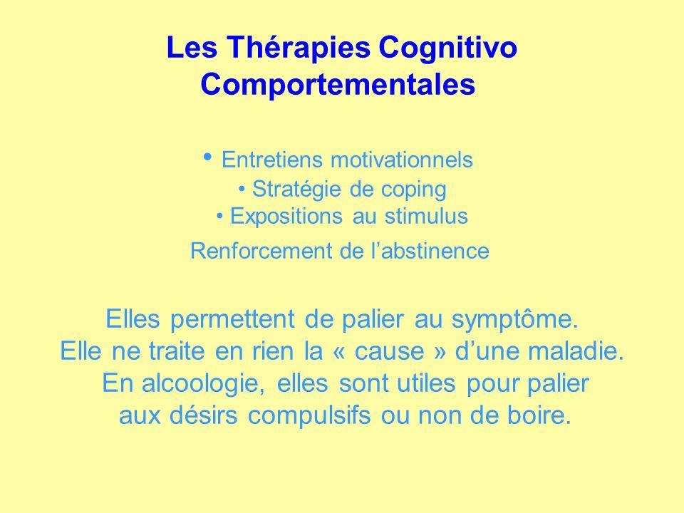 Les Thérapies Cognitivo Comportementales Entretiens motivationnels Stratégie de coping Expositions au stimulus Renforcement de labstinence Elles perme