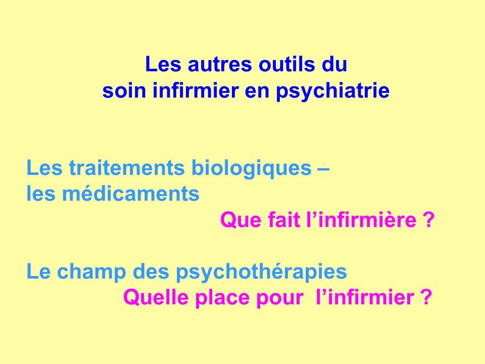 Les autres outils du soin infirmier en psychiatrie Les traitements biologiques – les médicaments Que fait linfirmière ? Le champ des psychothérapies Q