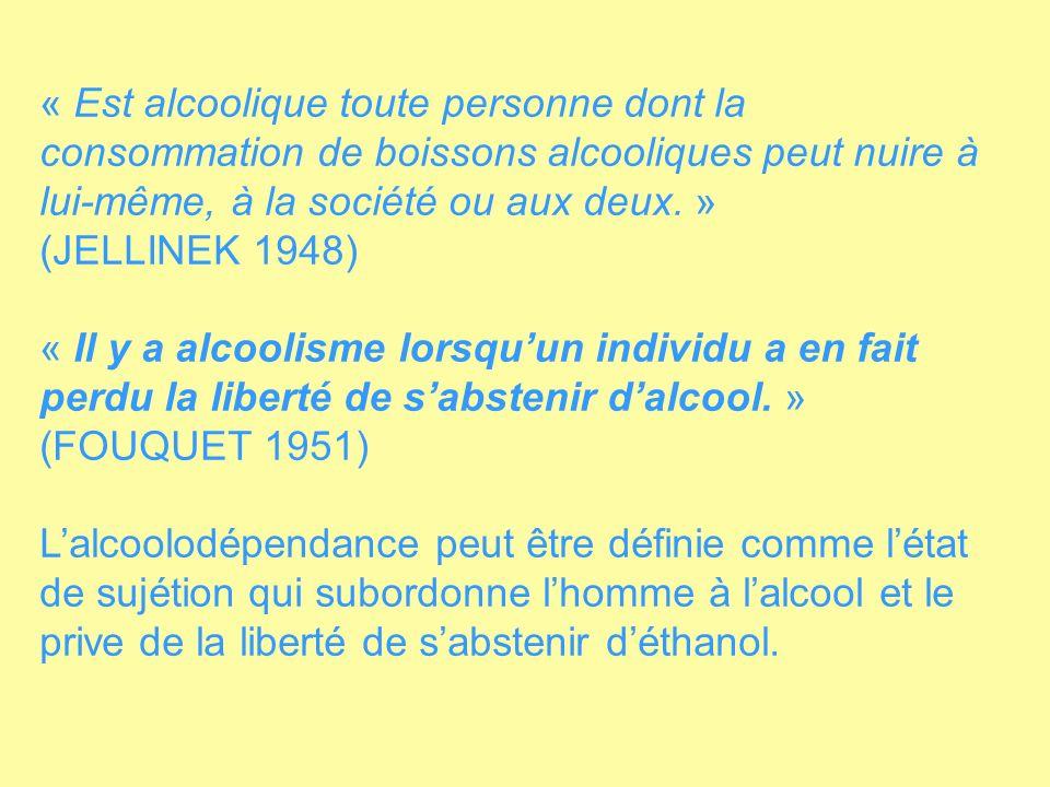« Est alcoolique toute personne dont la consommation de boissons alcooliques peut nuire à lui-même, à la société ou aux deux. » (JELLINEK 1948) « Il y