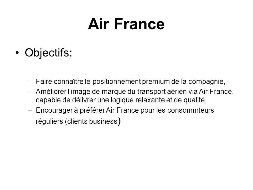 Objectifs: –Faire connaître le positionnement premium de la compagnie, –Améliorer limage de marque du transport aérien via Air France, capable de déli