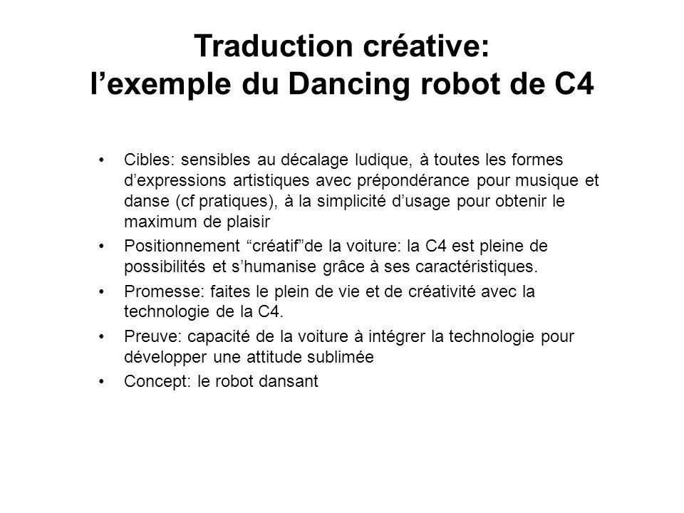 Traduction créative: lexemple du Dancing robot de C4 Cibles: sensibles au décalage ludique, à toutes les formes dexpressions artistiques avec prépondé