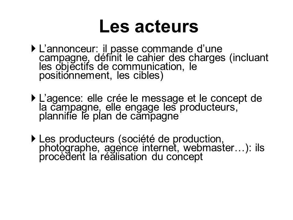 Lannonceur: il passe commande dune campagne, définit le cahier des charges (incluant les objectifs de communication, le positionnement, les cibles) La
