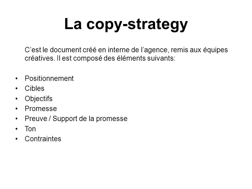 Cest le document créé en interne de lagence, remis aux équipes créatives. Il est composé des éléments suivants: Positionnement Cibles Objectifs Promes