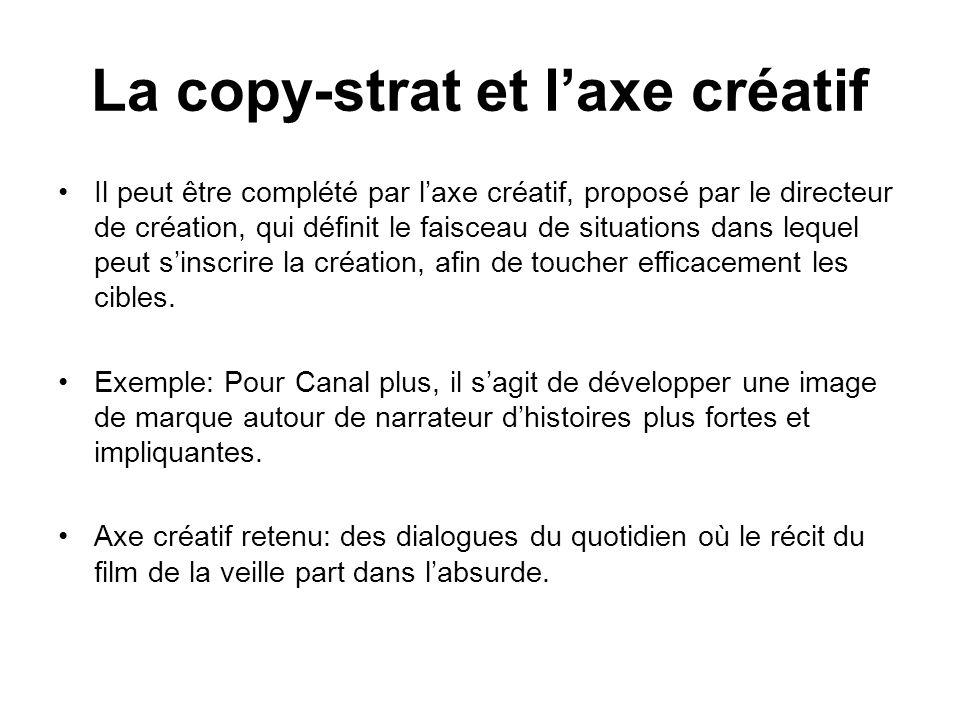 Il peut être complété par laxe créatif, proposé par le directeur de création, qui définit le faisceau de situations dans lequel peut sinscrire la créa