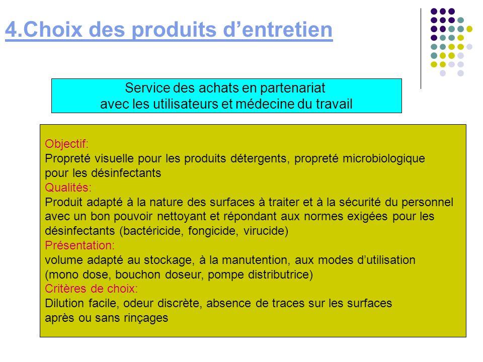 4.Choix des produits dentretien Service des achats en partenariat avec les utilisateurs et médecine du travail Objectif: Propreté visuelle pour les pr