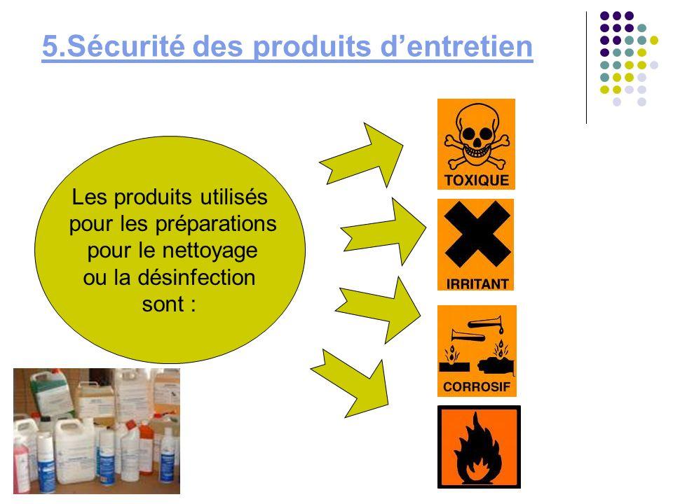 5.Sécurité des produits dentretien Les produits utilisés pour les préparations pour le nettoyage ou la désinfection sont :