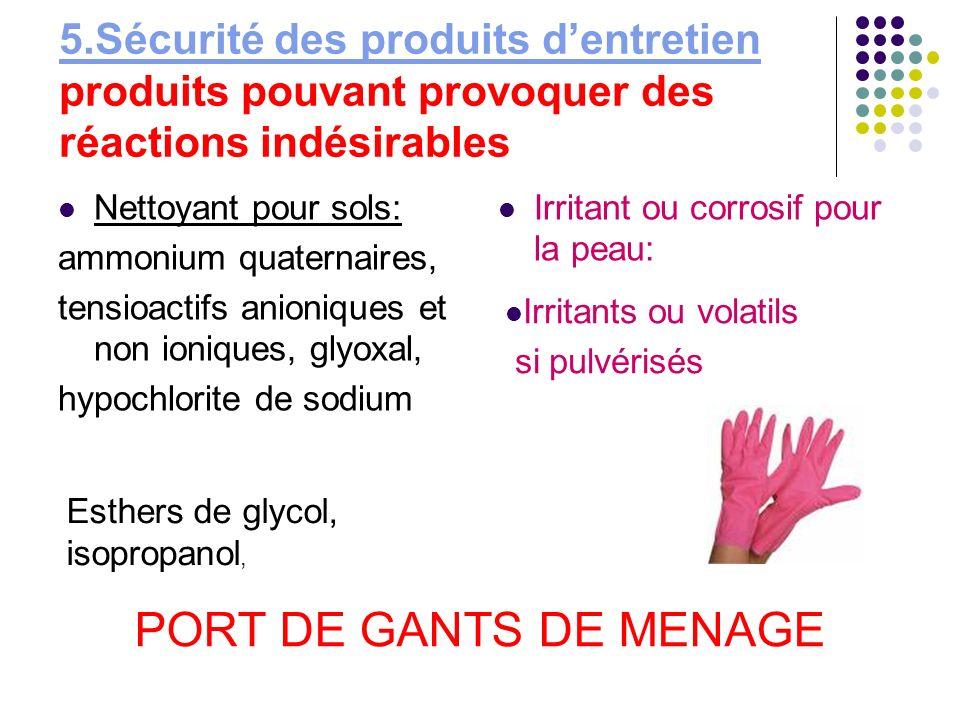 5.Sécurité des produits dentretien 5.Sécurité des produits dentretien produits pouvant provoquer des réactions indésirables Nettoyant pour sols: ammon