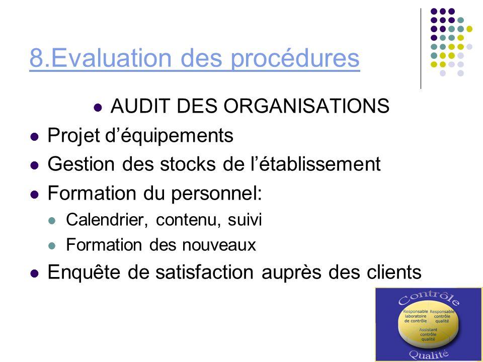 8.Evaluation des procédures AUDIT DES ORGANISATIONS Projet déquipements Gestion des stocks de létablissement Formation du personnel: Calendrier, conte