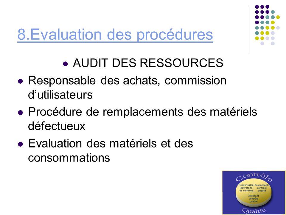 8.Evaluation des procédures AUDIT DES RESSOURCES Responsable des achats, commission dutilisateurs Procédure de remplacements des matériels défectueux