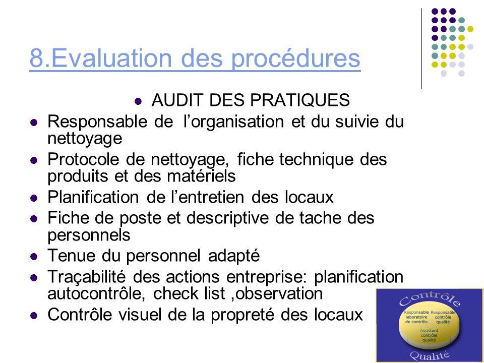 8.Evaluation des procédures AUDIT DES PRATIQUES Responsable de lorganisation et du suivie du nettoyage Protocole de nettoyage, fiche technique des pro