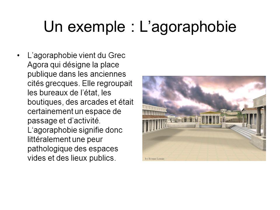 Un exemple : Lagoraphobie Lagoraphobie vient du Grec Agora qui désigne la place publique dans les anciennes cités grecques. Elle regroupait les bureau