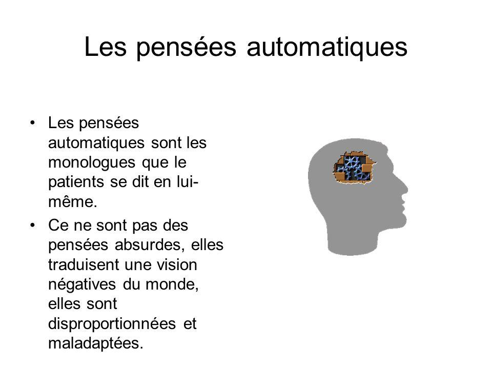 Les pensées automatiques Les pensées automatiques sont les monologues que le patients se dit en lui- même. Ce ne sont pas des pensées absurdes, elles