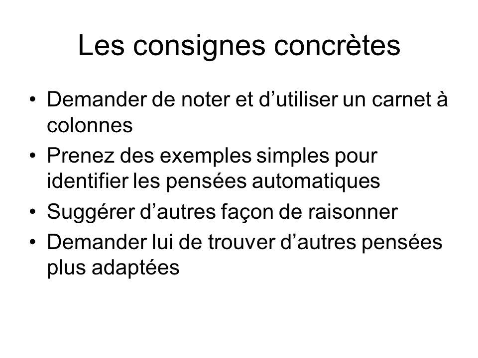 Les consignes concrètes Demander de noter et dutiliser un carnet à colonnes Prenez des exemples simples pour identifier les pensées automatiques Suggé