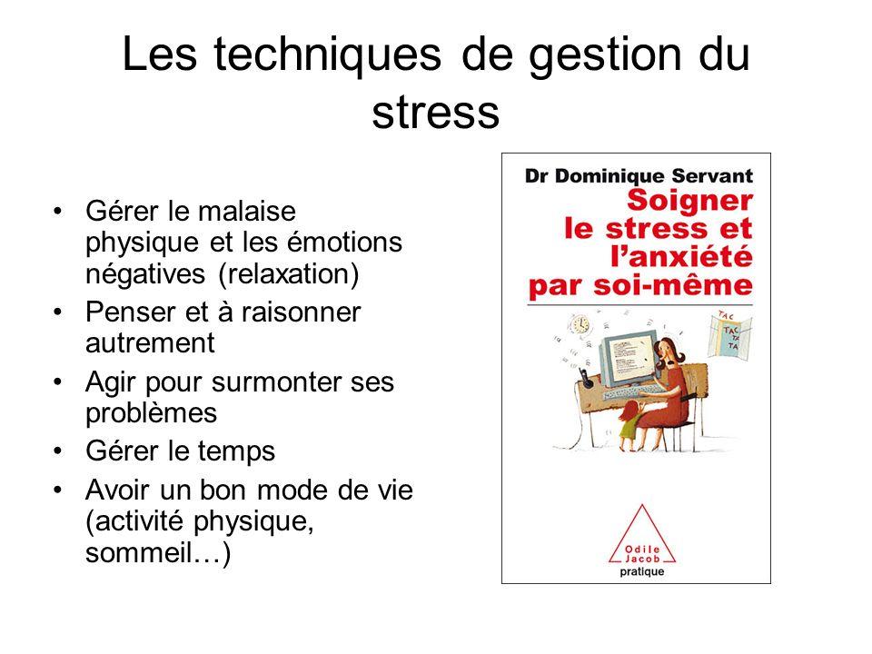 Les techniques de gestion du stress Gérer le malaise physique et les émotions négatives (relaxation) Penser et à raisonner autrement Agir pour surmonter ses problèmes Gérer le temps Avoir un bon mode de vie (activité physique, sommeil…)