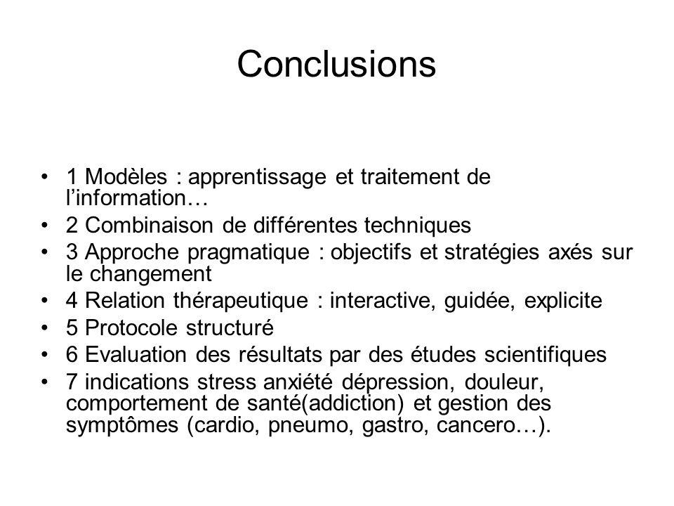 Conclusions 1 Modèles : apprentissage et traitement de linformation… 2 Combinaison de différentes techniques 3 Approche pragmatique : objectifs et str