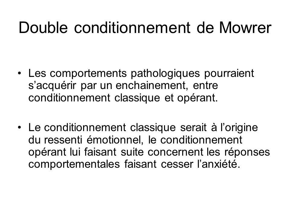 Double conditionnement de Mowrer Les comportements pathologiques pourraient sacquérir par un enchainement, entre conditionnement classique et opérant.