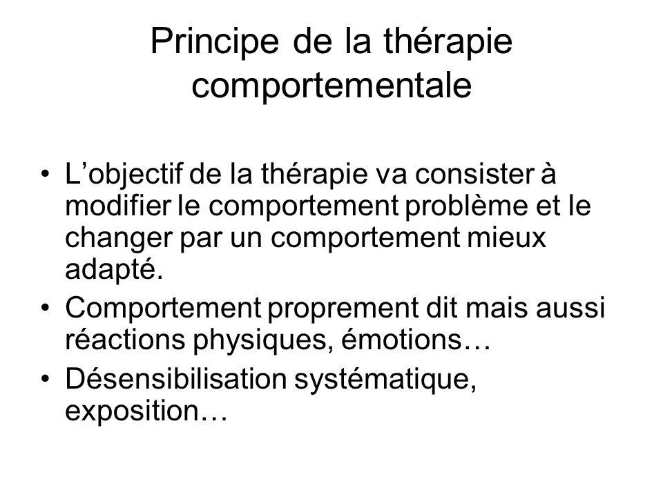 Principe de la thérapie comportementale Lobjectif de la thérapie va consister à modifier le comportement problème et le changer par un comportement mieux adapté.