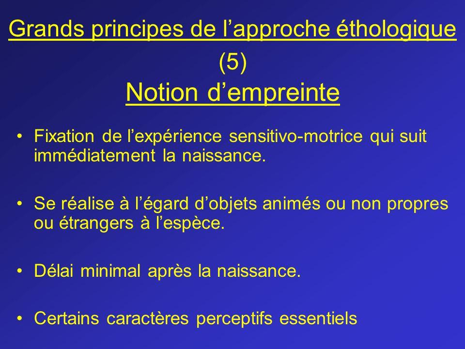 Grands principes de lapproche éthologique (5) Notion dempreinte Fixation de lexpérience sensitivo-motrice qui suit immédiatement la naissance. Se réal