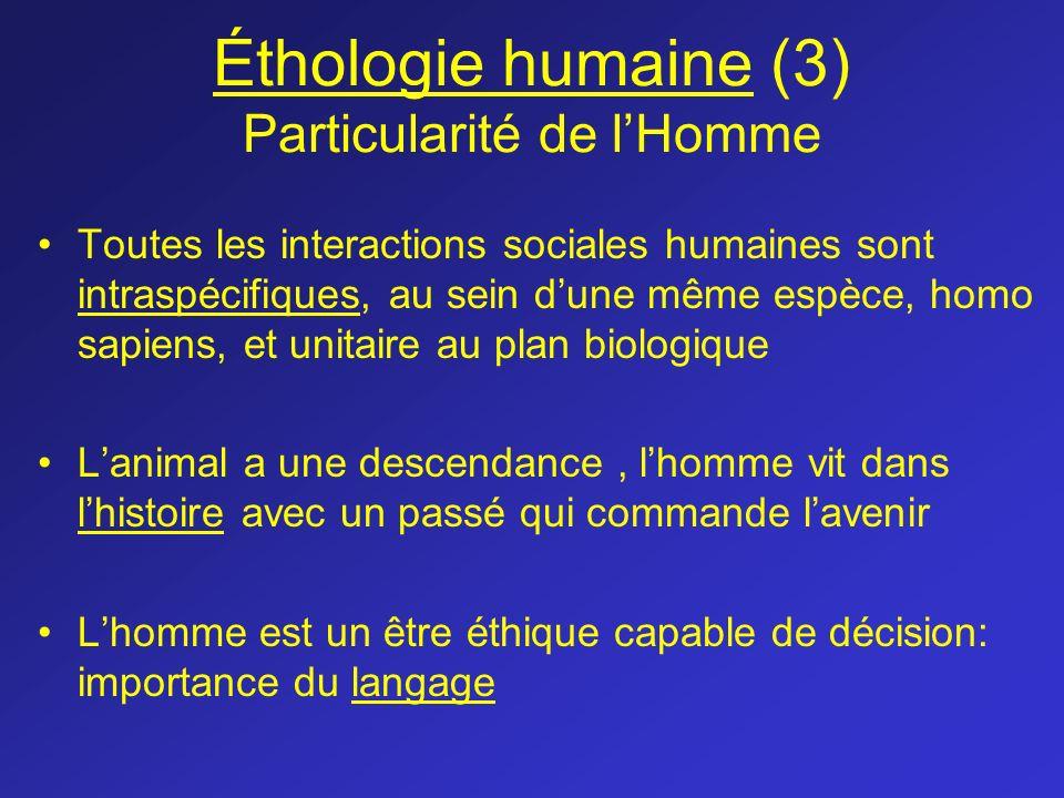 Éthologie humaine (3) Particularité de lHomme Toutes les interactions sociales humaines sont intraspécifiques, au sein dune même espèce, homo sapiens,