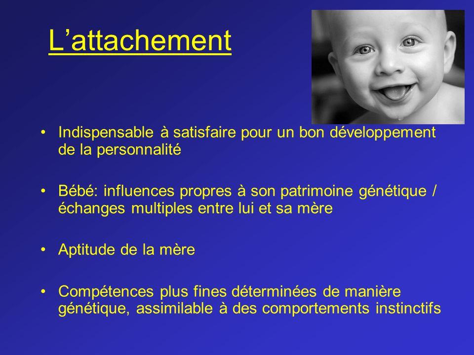 Lattachement Indispensable à satisfaire pour un bon développement de la personnalité Bébé: influences propres à son patrimoine génétique / échanges mu