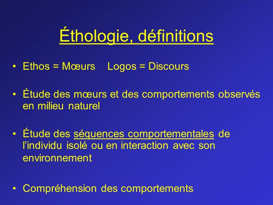 Éthologie, définitions Ethos = Mœurs Logos = Discours Étude des mœurs et des comportements observés en milieu naturel Étude des séquences comportement
