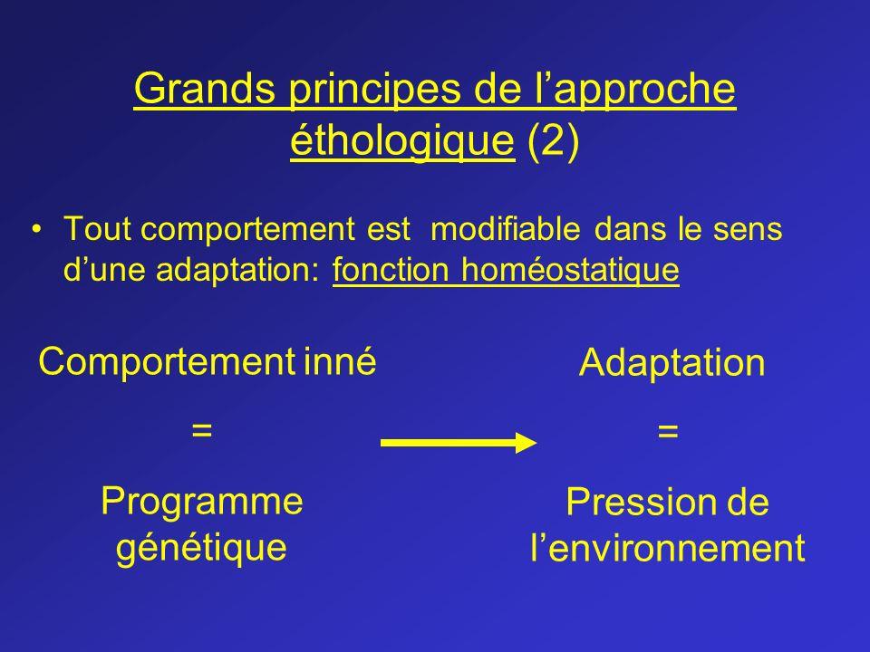 Grands principes de lapproche éthologique (2) Tout comportement est modifiable dans le sens dune adaptation: fonction homéostatique Comportement inné