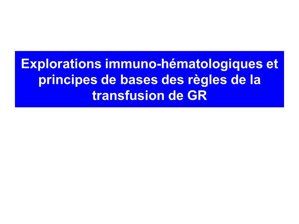 Bases immunologiques en transfusion Eviter limmunisation du receveur contre Ag de groupe sanguin phénotype Eviter le contact entre un Ac du receveur et son Ag spécifique groupe ABO, RAI