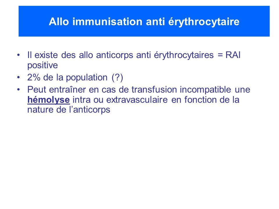 Allo immunisation anti érythrocytaire Il existe des allo anticorps anti érythrocytaires = RAI positive 2% de la population (?) Peut entraîner en cas d
