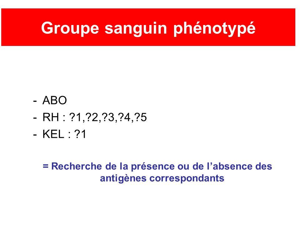 Groupe sanguin phénotypé -ABO -RH : ?1,?2,?3,?4,?5 -KEL : ?1 = Recherche de la présence ou de labsence des antigènes correspondants