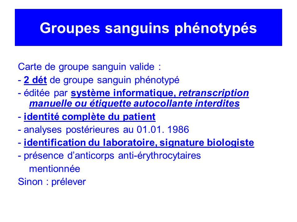 Groupes sanguins phénotypés Carte de groupe sanguin valide : - 2 dét de groupe sanguin phénotypé - éditée par système informatique, retranscription ma