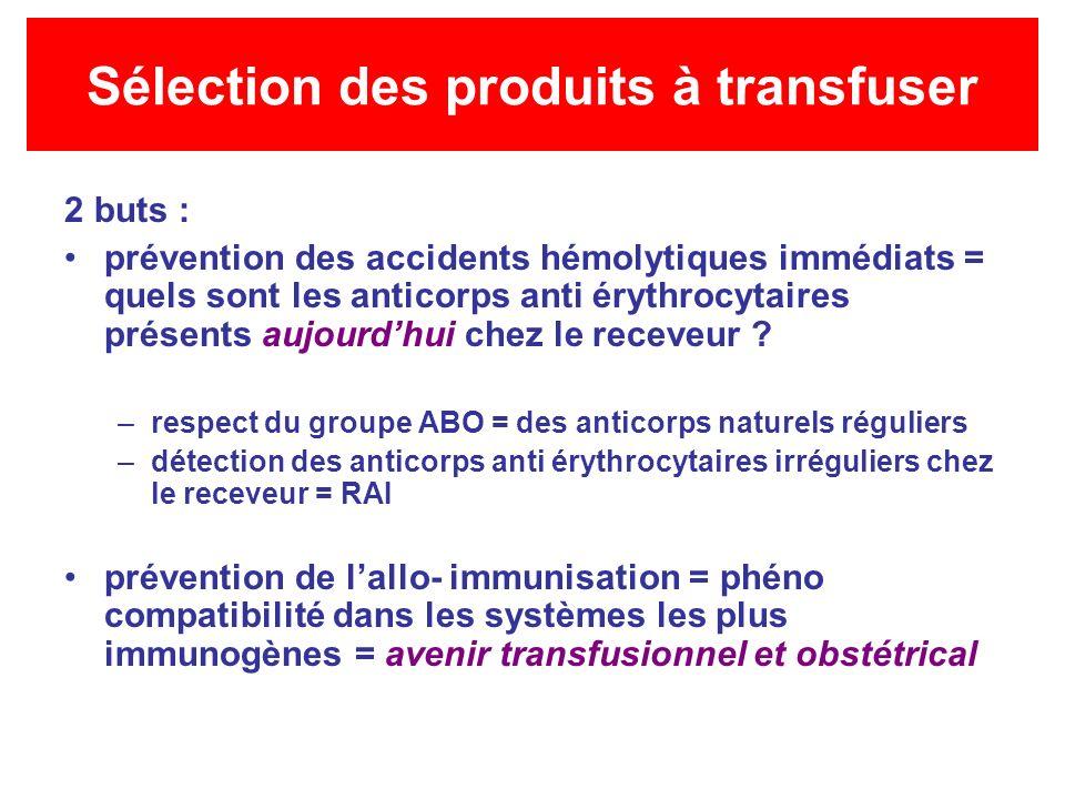Sélection des produits à transfuser 2 buts : prévention des accidents hémolytiques immédiats = quels sont les anticorps anti érythrocytaires présents