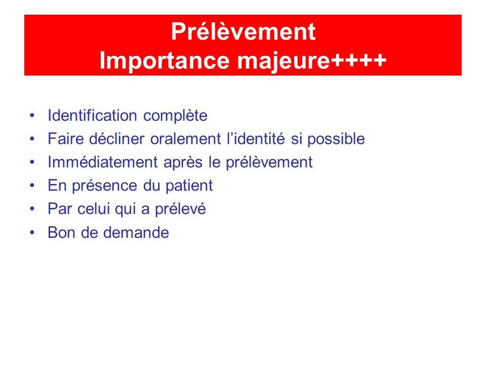 Prélèvement Importance majeure++++ Identification complète Faire décliner oralement lidentité si possible Immédiatement après le prélèvement En présen